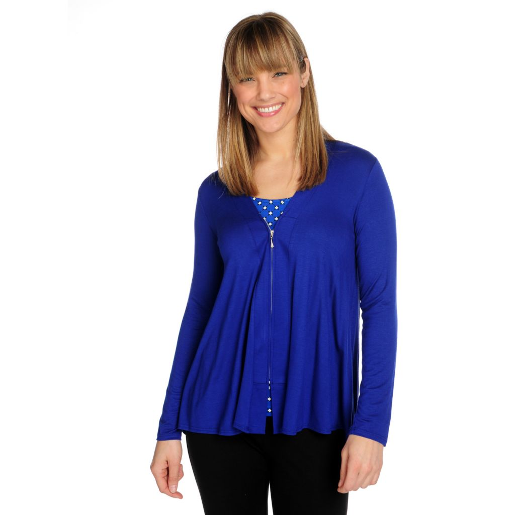 715-841 - Kate & Mallory Stretch Knit Long Sleeved Zip Front Hi-Lo Cardigan