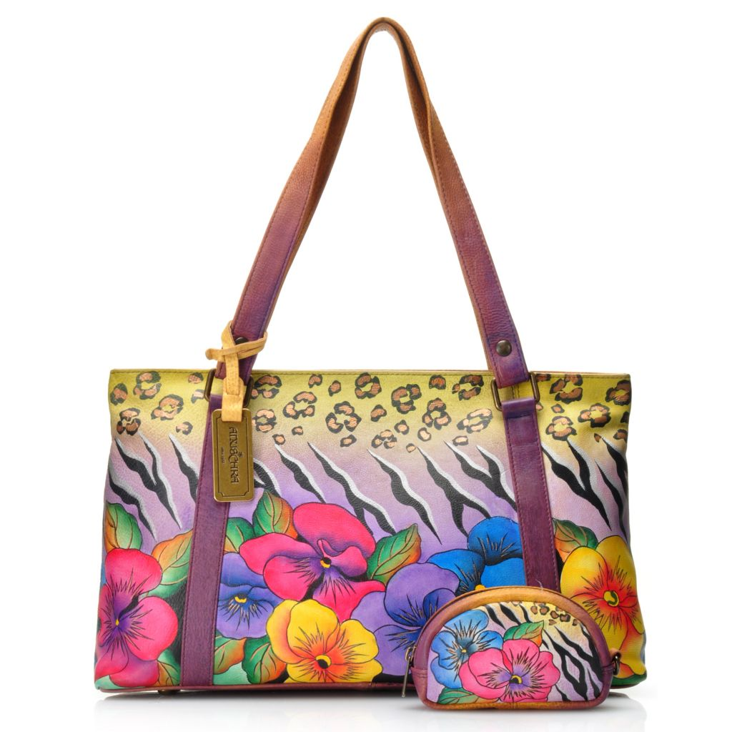 715-842 - Anushcka Hand-Painted Leather Double Handle Zip Top East-West Tote Bag