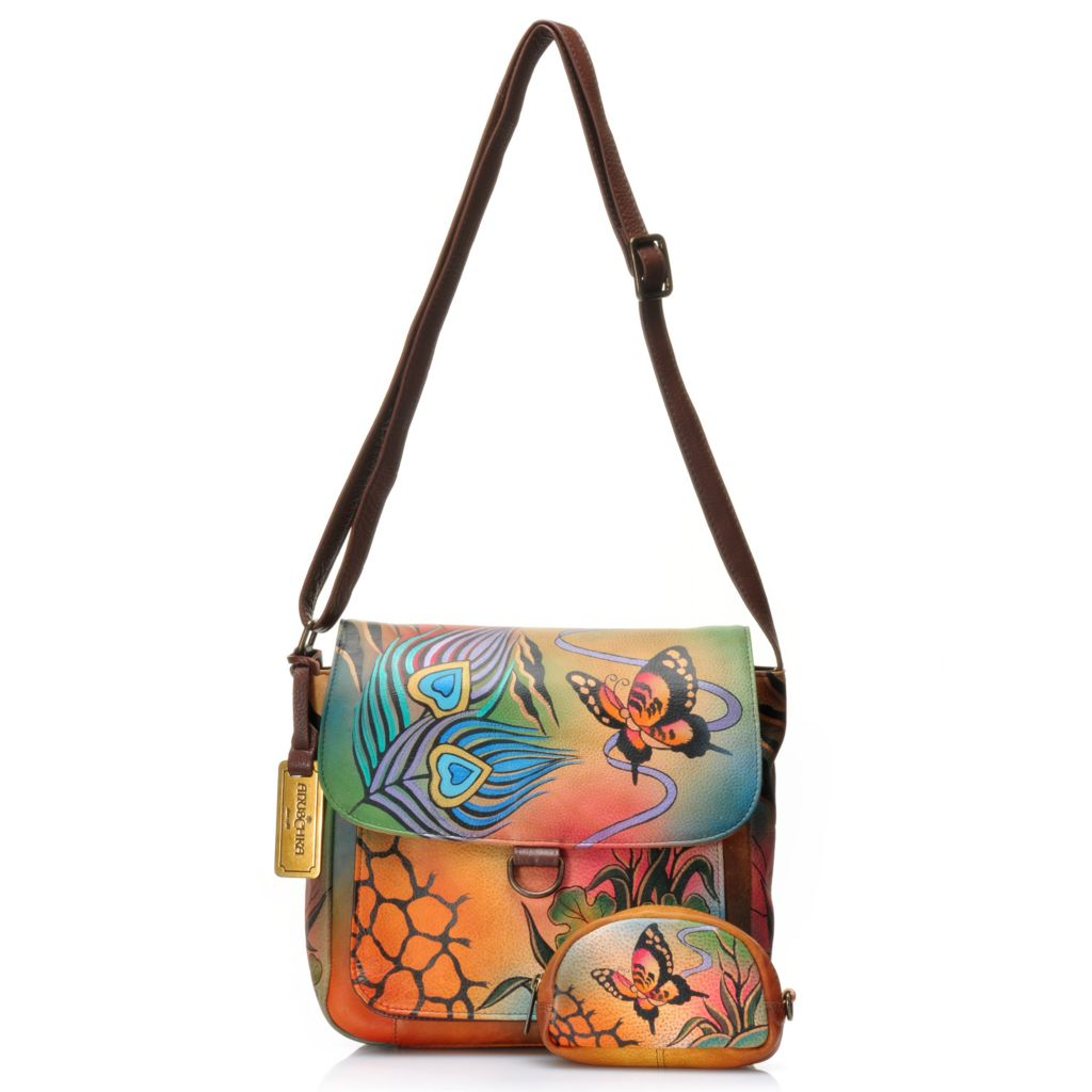 715-843 - Anuschka Hand-Painted Leather Flap-over Cross Body Bag w/ Zipper Pouch