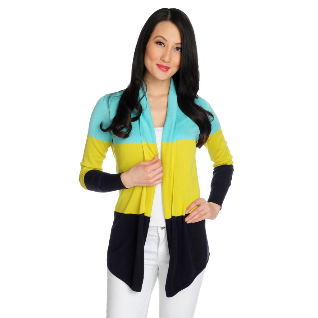 715-846 - OSO Casuals Fine Gauge Knit Long Sleeved Color Block Open Cardigan