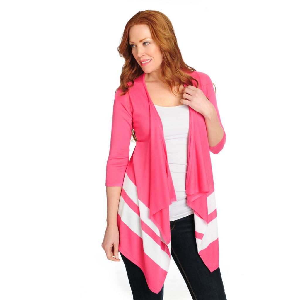 715-847 - OSO Casuals Sweater Knit 3/4 Sleeved Striped Border Draped Cardigan