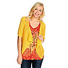 715-850 - One World Micro Jersey Flutter Sleeve Embellished Tunic & Drape Crochet Cardigan