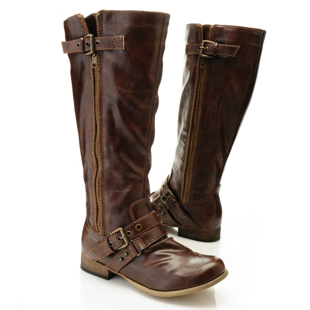 715-853 - Carlos by Carlos Santana Side Zip Buckle & Belt Detailed Knee-High Boots