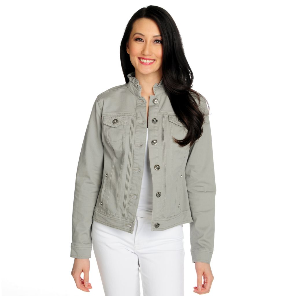 715-858 - OSO Casuals Stretch Twill Button Front Ruffle Collar Jacket