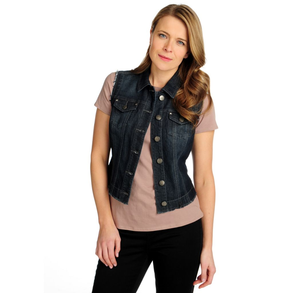715-859 - OSO Casuals Stretch Denim Raw Edged Decorative Button Cropped Vest