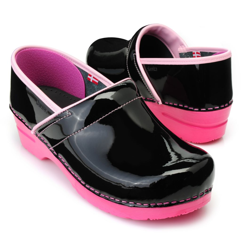 715-861 - Sanita Patent Leather Slip-on Clogs