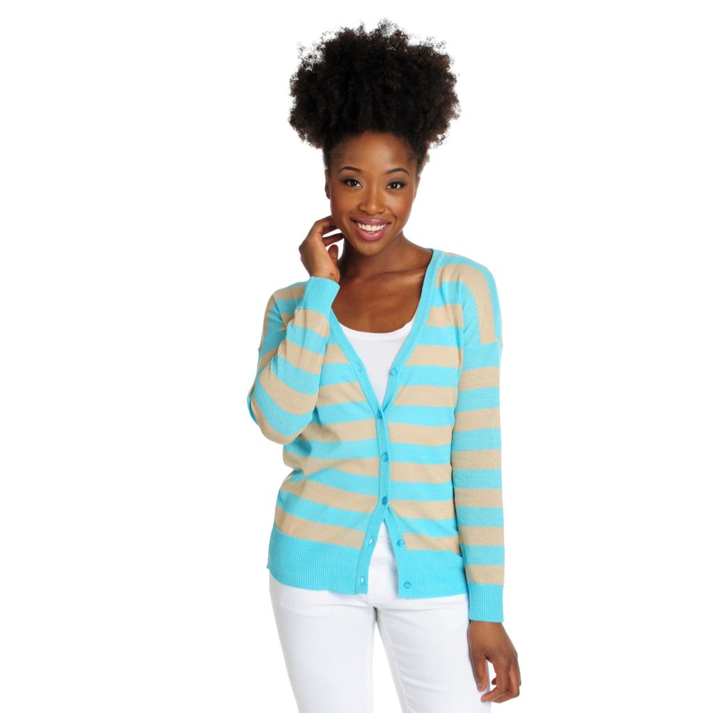 715-864 - OSO Casuals Sweater Knit Long Sleeved Button Front Striped Cardigan