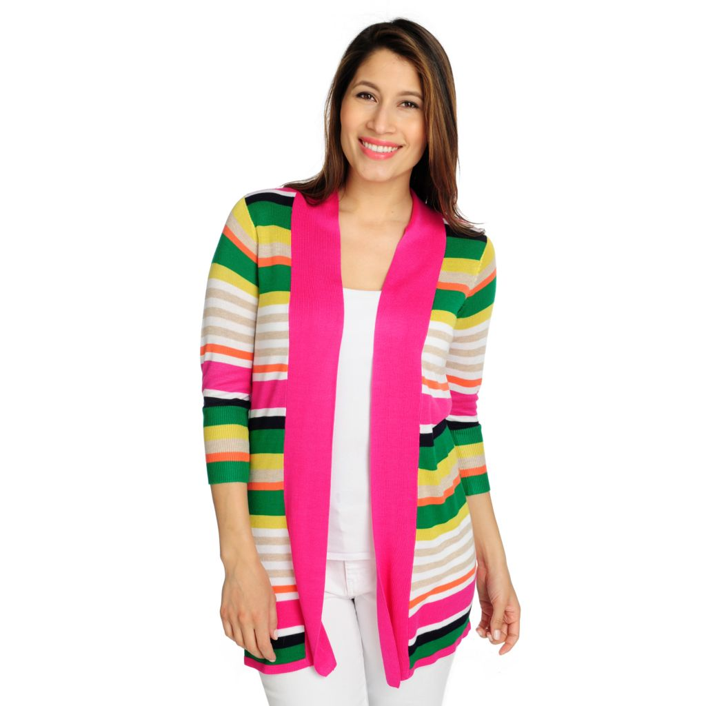 715-865 - OSO Casuals Sweater Knit 3/4 Sleeved Engineer Striped Open Cardigan