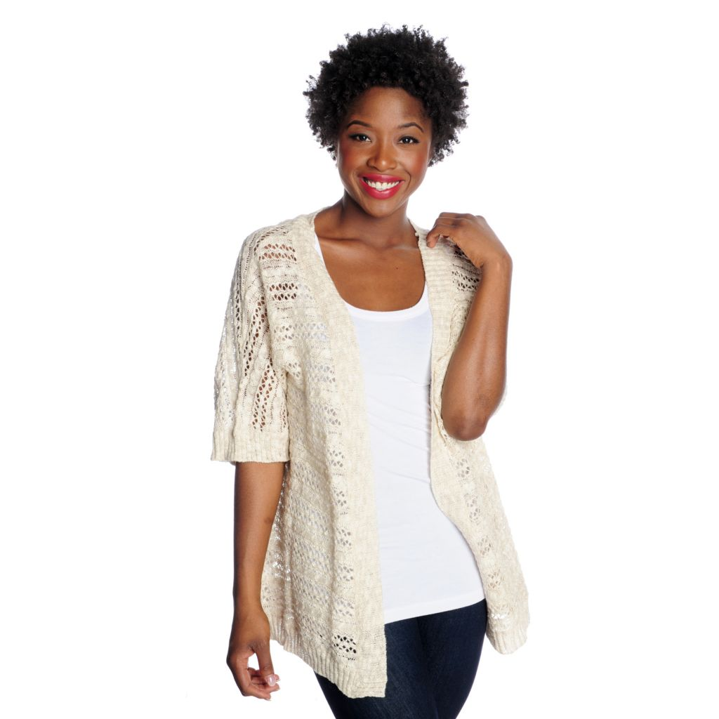 715-871 - OSO Casuals Open Knit Dolman Sleeved Cardigan Sweater