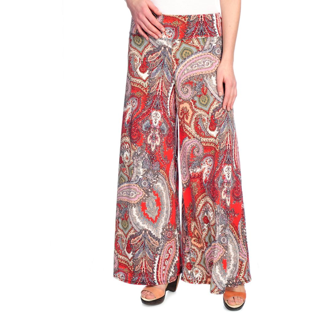715-874 - aDRESSing WOMAN Stretch Knit Wide Waistband Pull-on Printed Palazzo Pants
