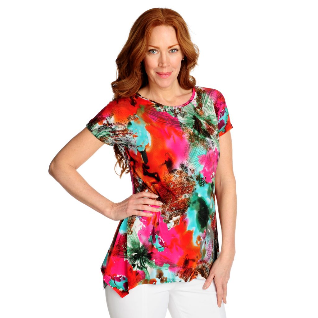 715-876 - aDRESSing WOMAN Stretch Knit Dolman Sleeved Uneven Hem Printed Top