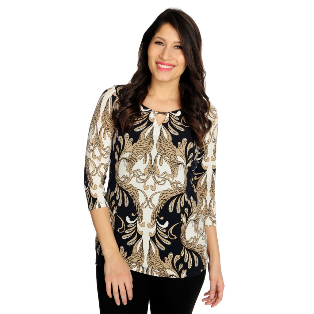 715-877 - aDRESSing WOMAN Stretch Knit 3/4 Sleeved Keyhole Neck Printed Top