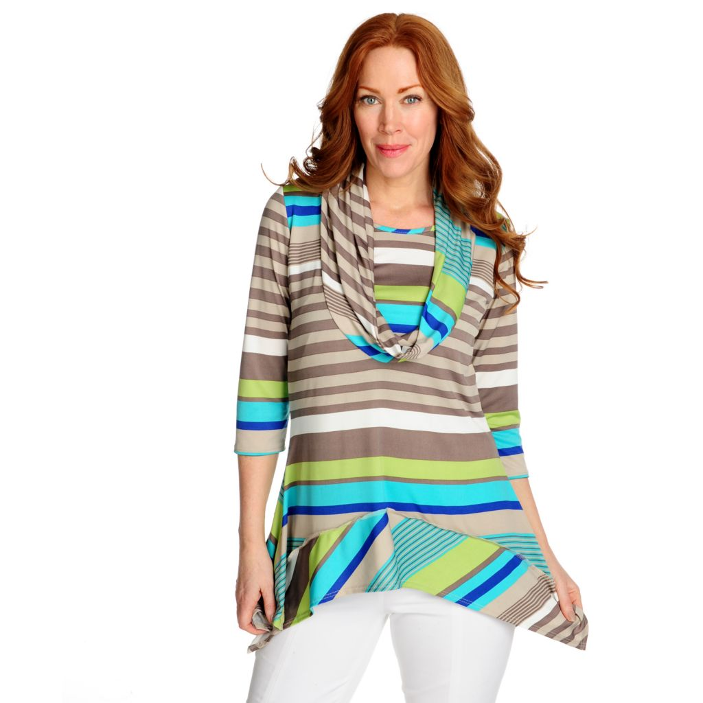 715-879 - aDRESSing WOMAN Stretch Knit 3/4 Sleeved Sharkbite Hem Cowl Neck Tunic