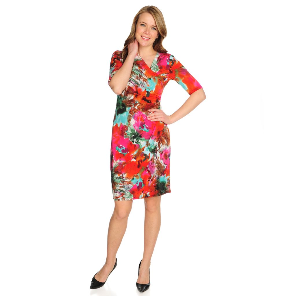 715-882 - aDRESSing WOMAN Stretch Knit Elbow Sleeve Printed Faux Wrap Dress