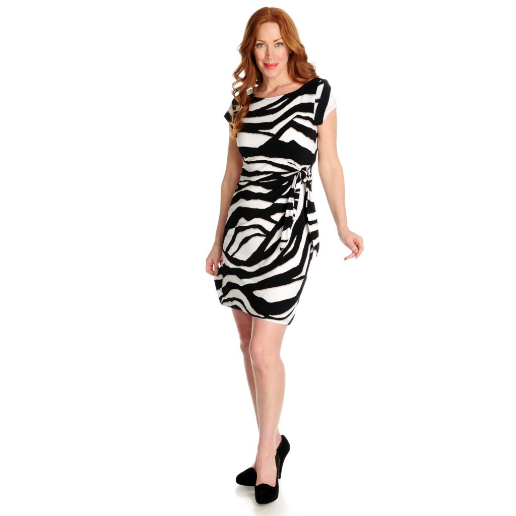 715-883 - aDRESSing WOMAN Stretch Knit Short Sleeved Tie Detailed Faux Wrap Dress