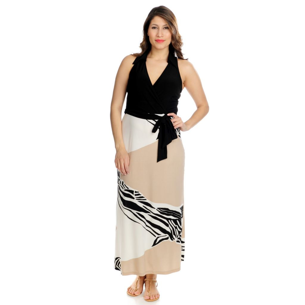 715-885 - aDRESSing WOMAN Stretch Knit Sleeveless Maxi Dress w/ Self-Tie Belt