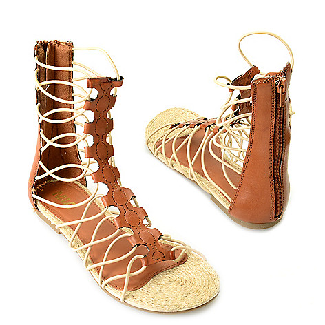 715-899 - MIA ''Livi'' Back Zip Stretch Cord Gladiator Sandals