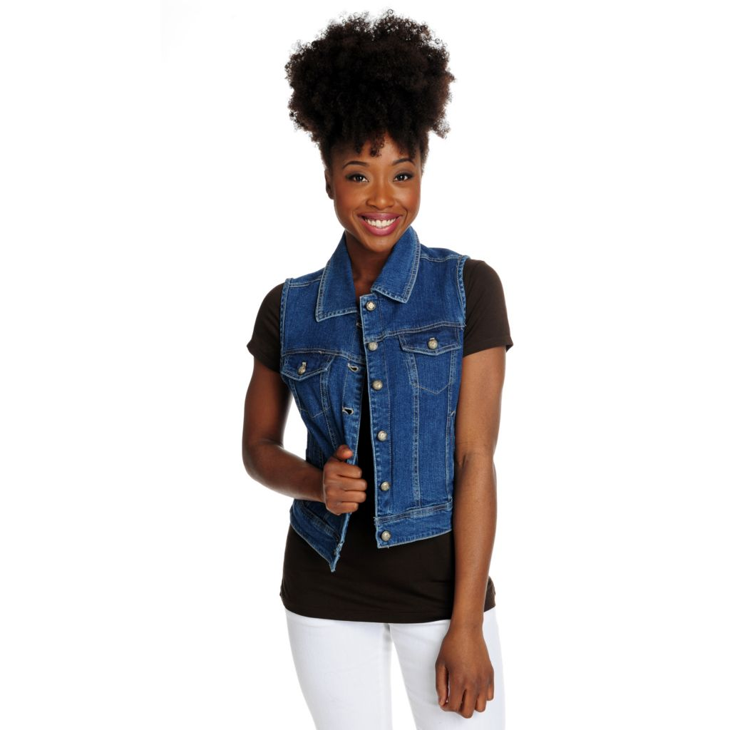 715-904 - OSO Casuals Stretch Denim Two-Pocket Button Front Vest
