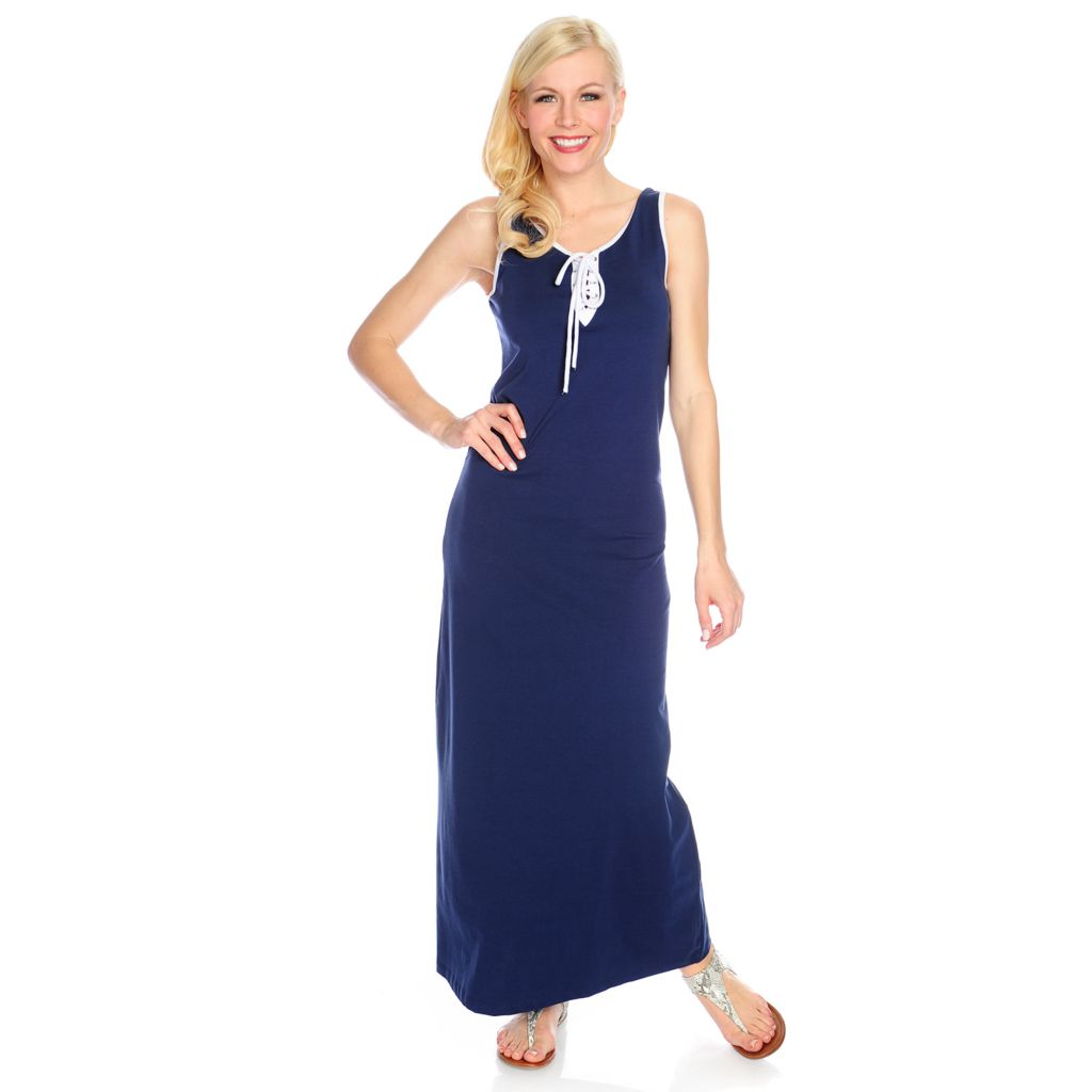 715-905 - OSO Casuals Stretch Knit Lace-up Front Colored Trim Maxi Dress