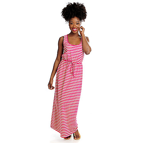 715-906 - OSO Casuals™ Stretch Knit Sleeveless Tie Waist Striped Maxi Dress