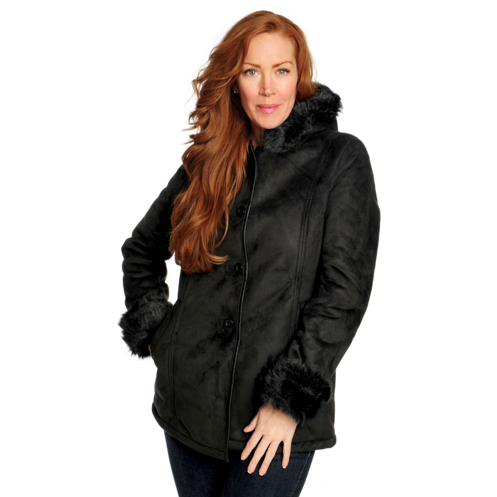 715-907 - R&O Faux Shearling & Faux Fur Trimmed Button Front Car Coat