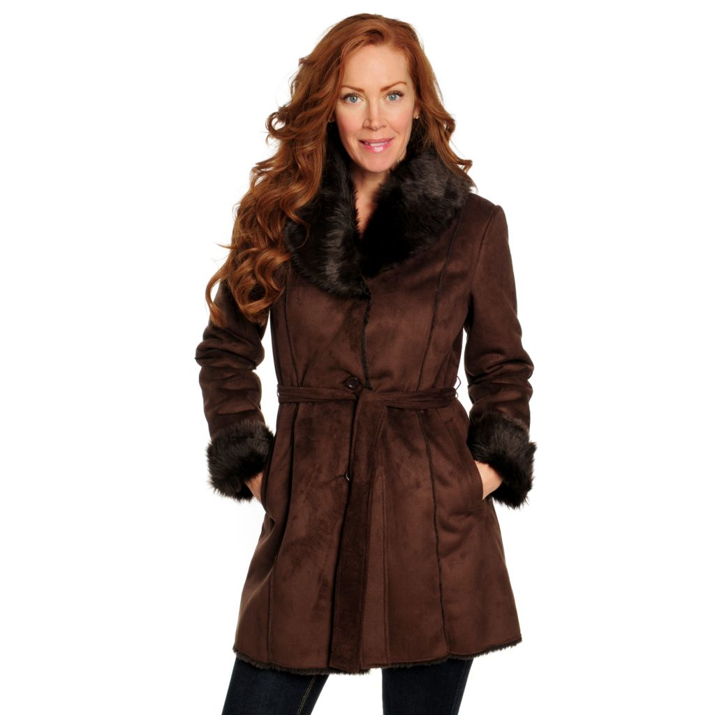 715-908 - Excelled Faux Shearling Belted Waist Shawl Collar Car Coat