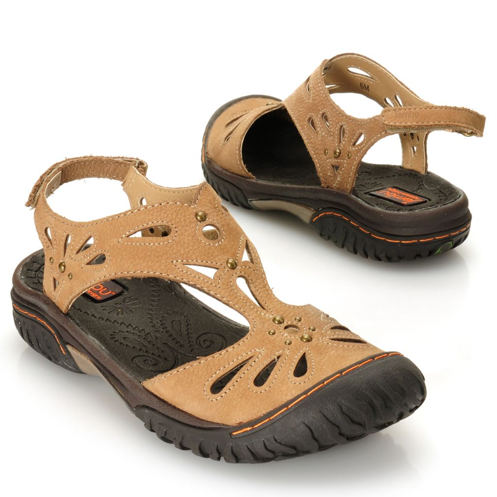 715-912 - Jambu Leather Studded Laser Cut  Closed Toe Comfort Sandals