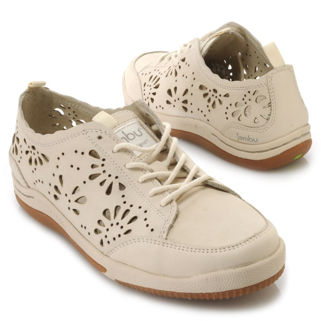 715-913 - Jambu Leather Laser Cut Flower Design Lace-up Shoes