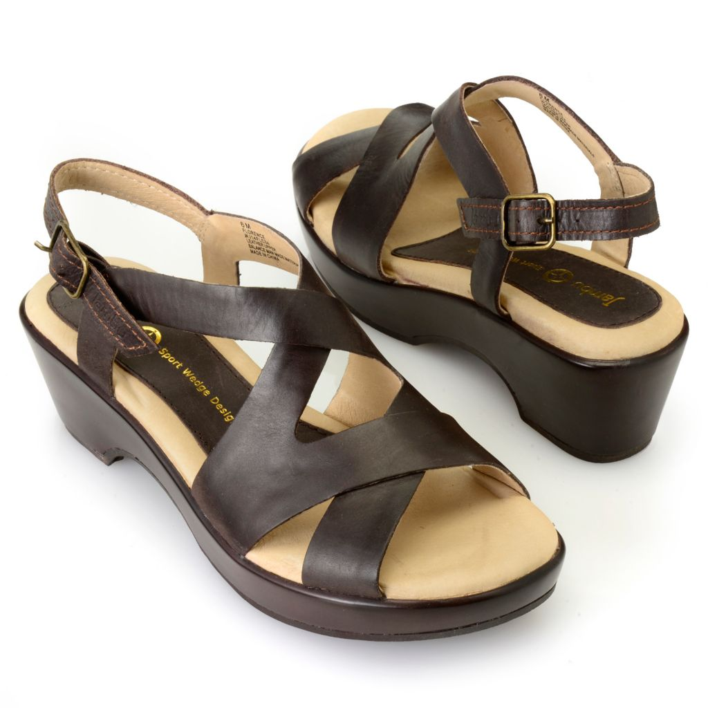 715-915 - Jambu Vachetta Leather Crisscross Wedge Sandals