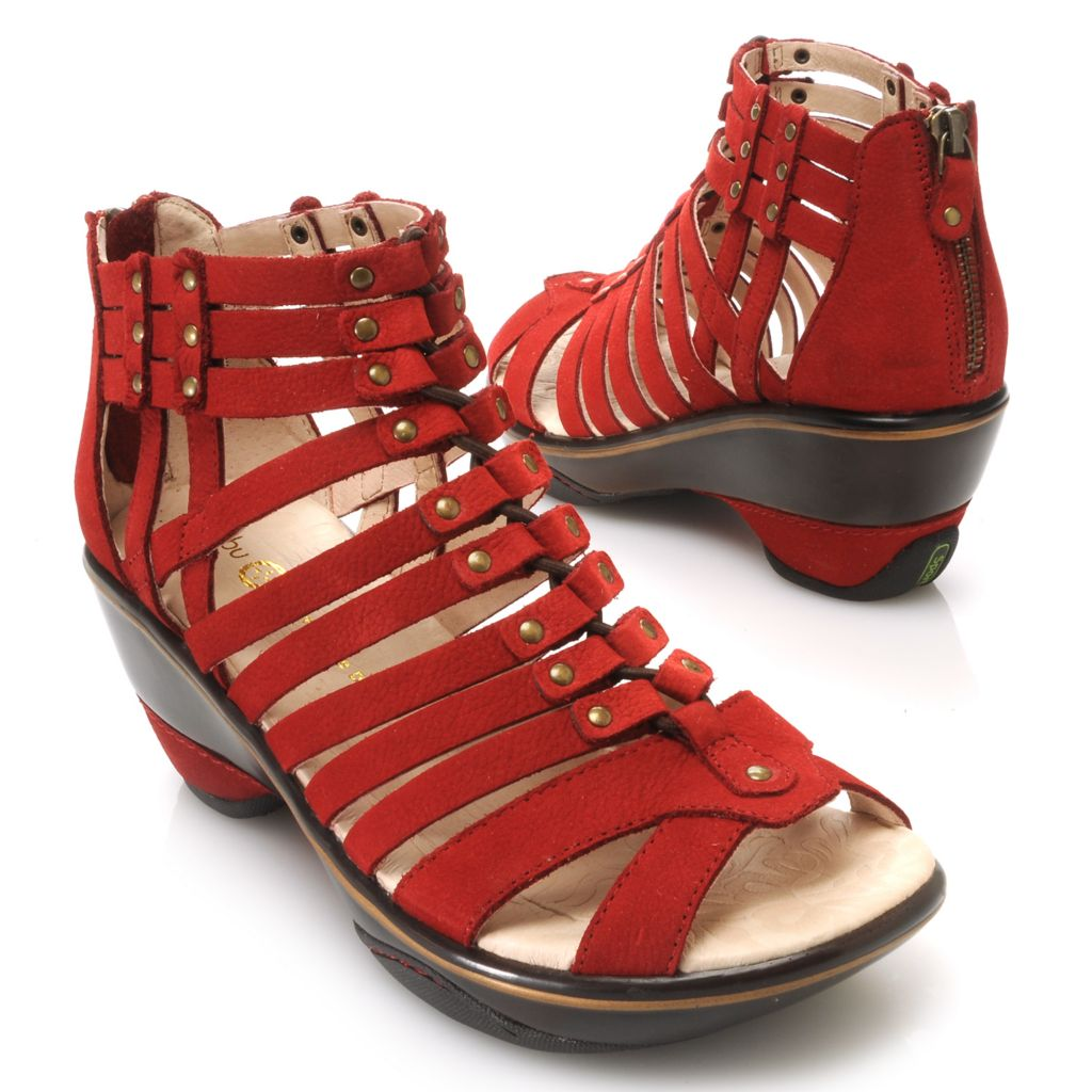 715-917 - Jambu Leather Back Zip Gladiator-Inspired Wedge Sandals