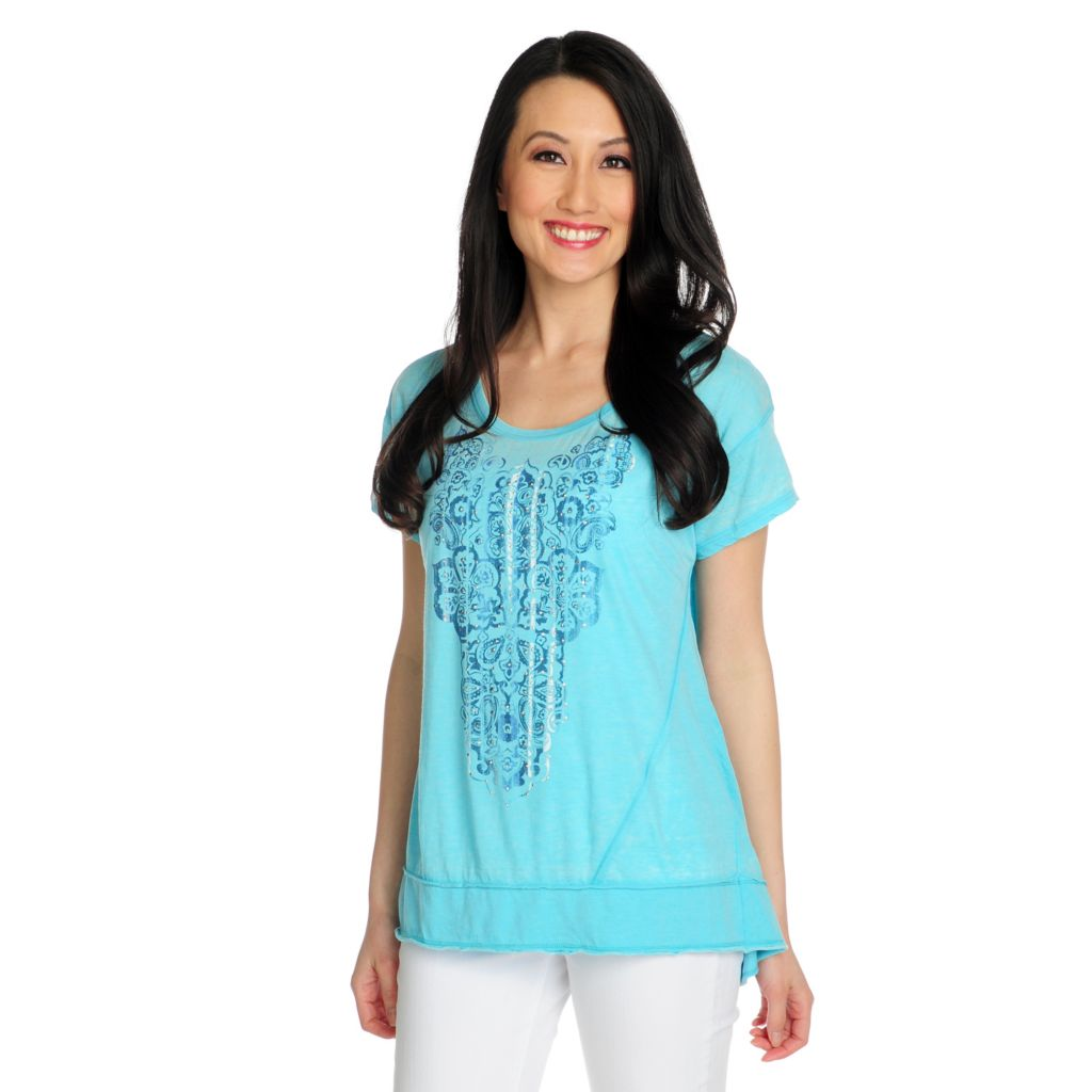 715-923 - One World Stretch Knit Short Sleeved Hi-Lo Hem Burnout Tee