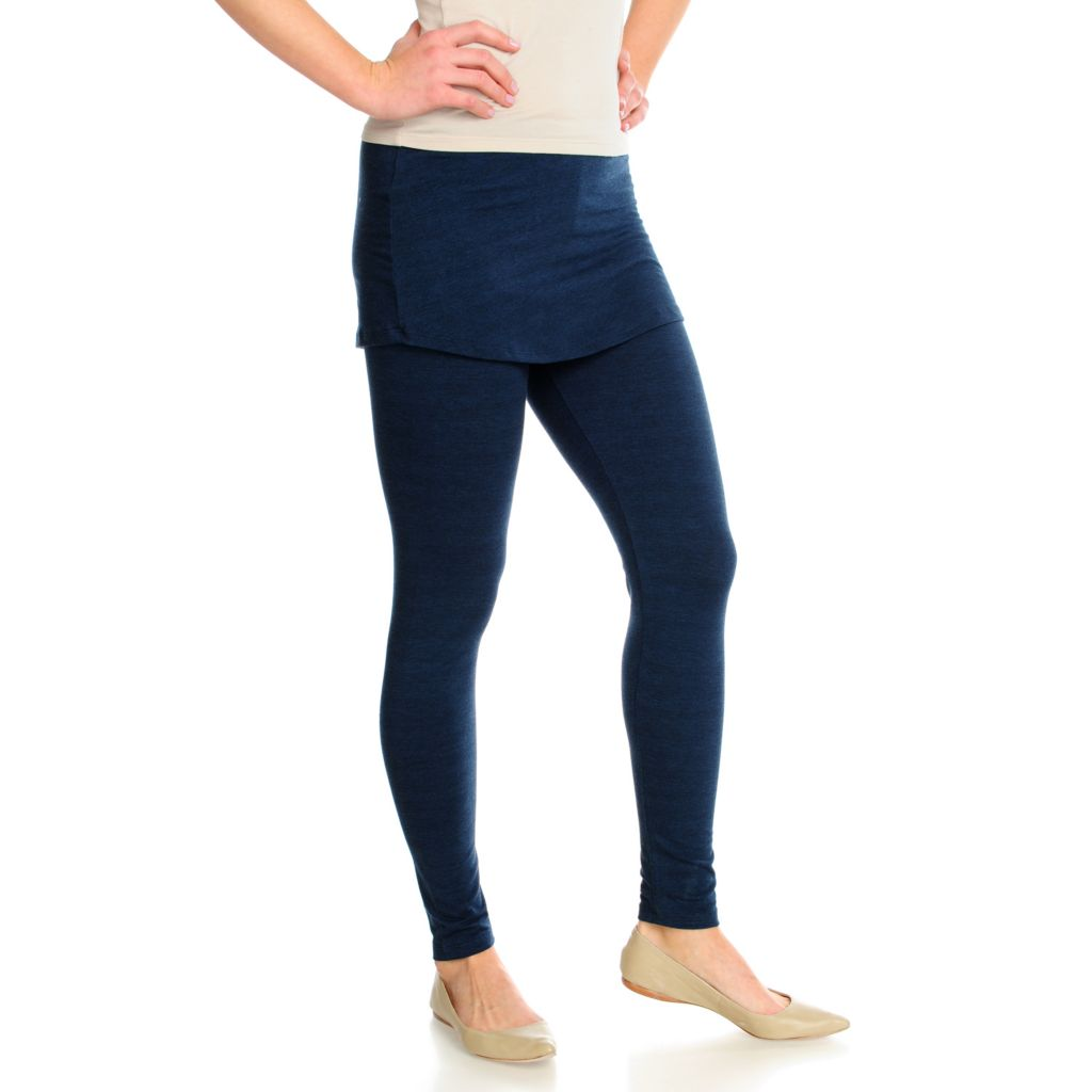 715-925 - One World Stretch Knit Ankle Length Pull-on Leggings w/ Attached Skirt
