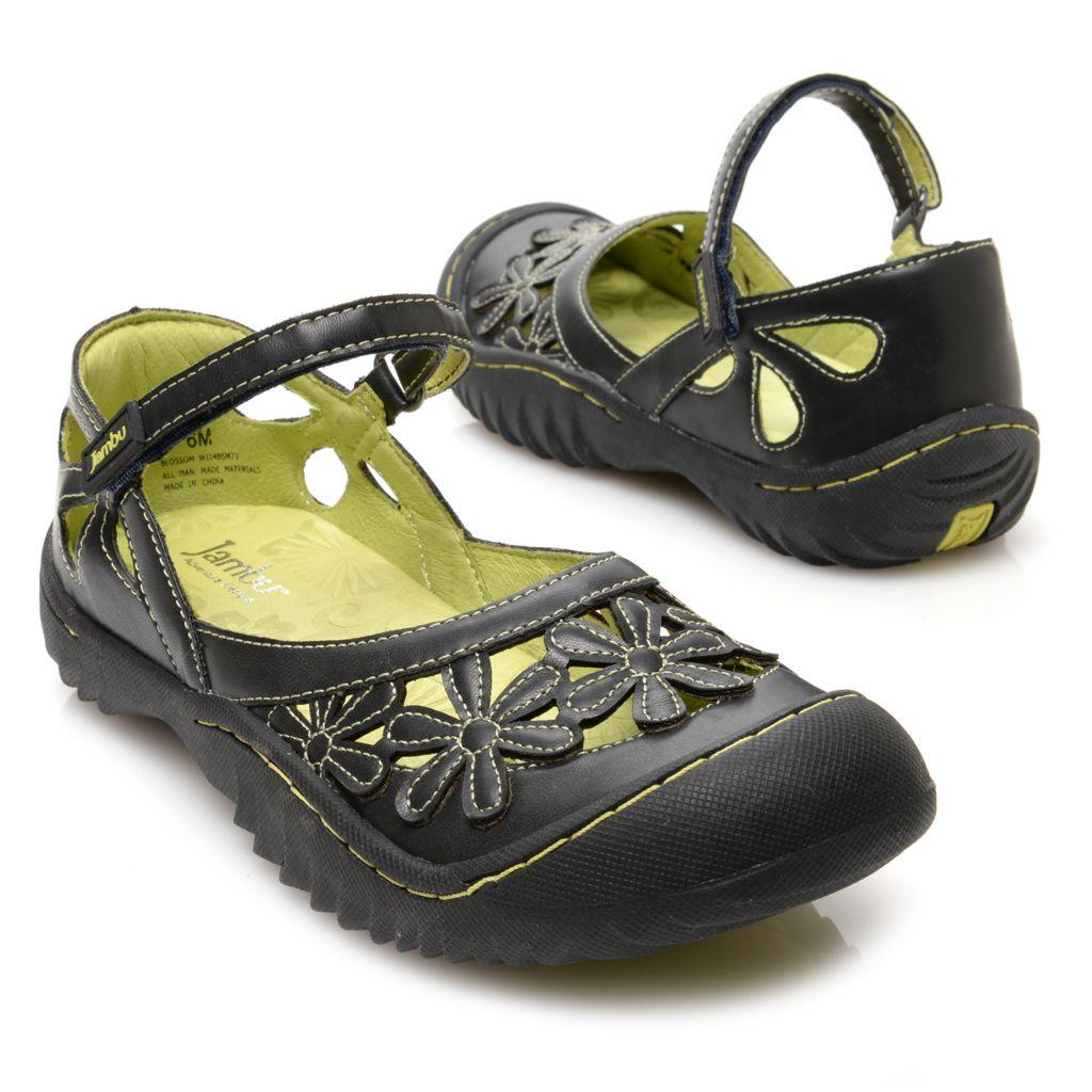 715-933 - Jambu Memory Foam Laser Cut Floral Design Ankle Strap Comfort Sandals