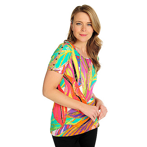 715-934 - Love, Carson by Carson Kressley Stretch Knit Short Sleeved Printed Top