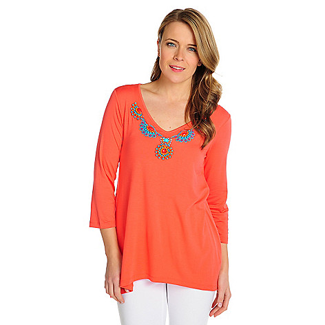 715-936 - Love, Carson by Carson Kressley Stretch Knit 3/4 Sleeved Beaded Neck Top
