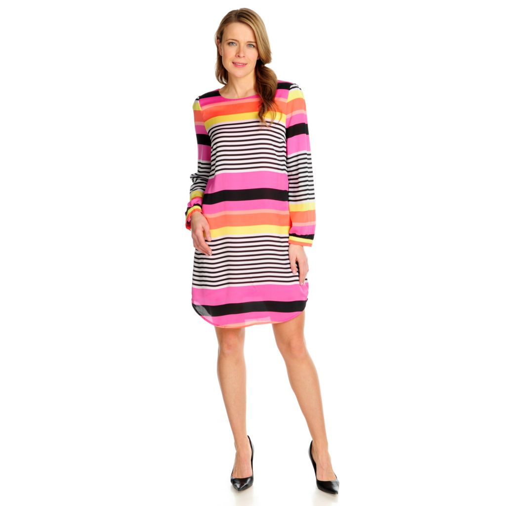 715-943 - Love, Carson by Carson Kressley Chiffon Long Sleeved Printed Dress