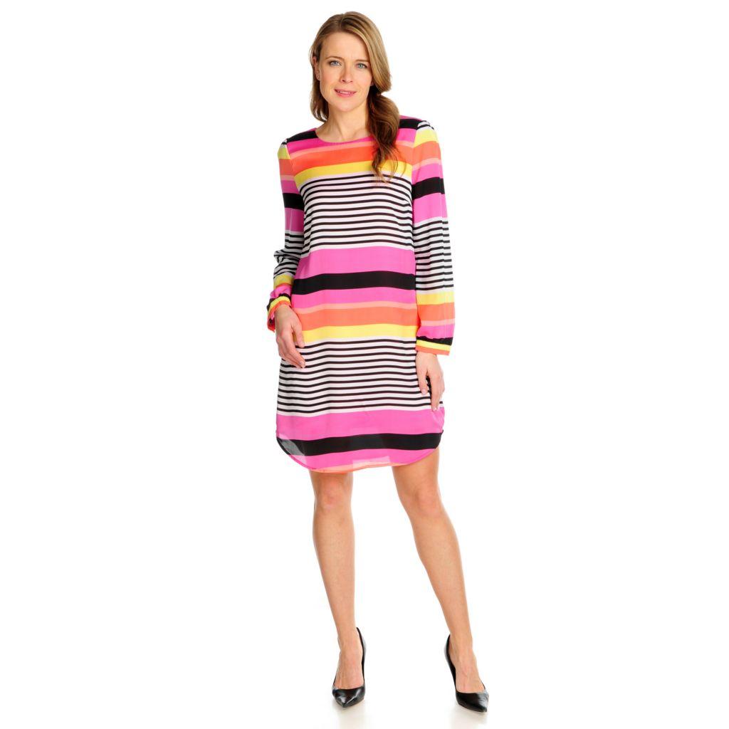 715-943 - Love, Carson by Carson Kressley Chiffon Long Sleeved Printed Dress