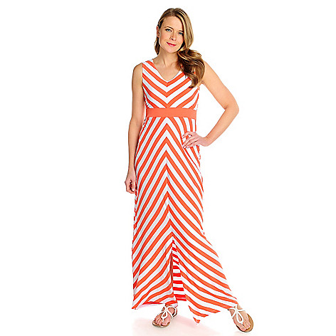715-945 - Love, Carson by Carson Kressley Stretch Knit Sleeveless Striped Maxi Dress