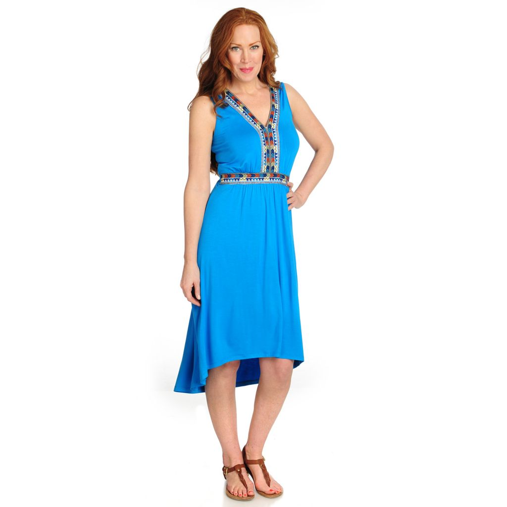 715-947 - Love, Carson by Carson Kressley Stretch Knit Sleeveless Hi-Lo Dress