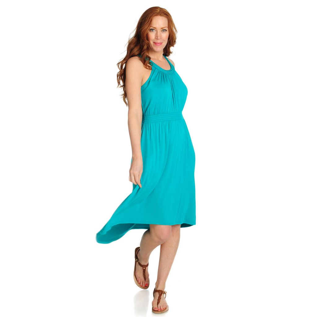 715-948 - Love, Carson by Carson Kressley Stretch Knit Sleeveless Hi-Lo Dress