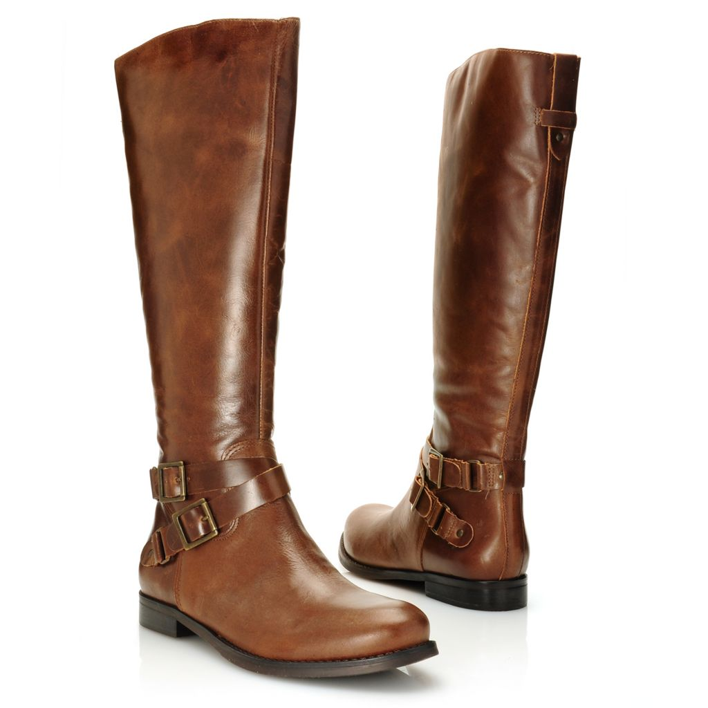 715-949 - Matisse® Leather Crisscross Belt & Buckle Detailed Side Zip Tall Riding Boots