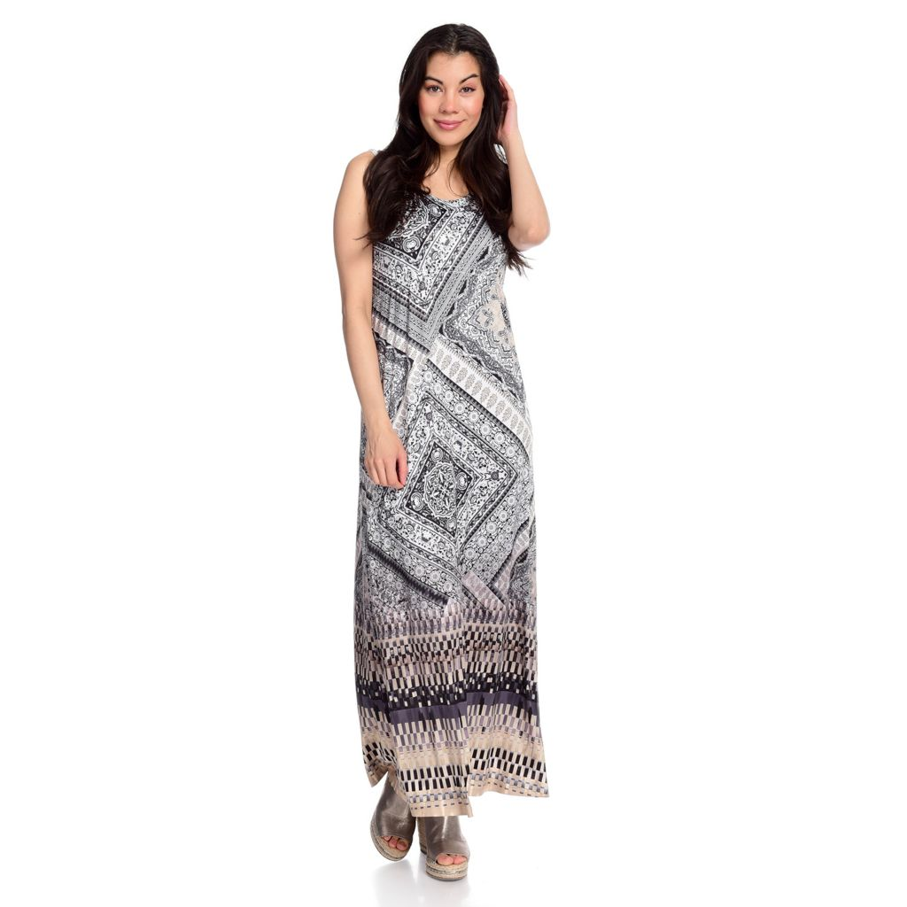 715-950 - One World Micro Jersey Sleeveless Embellished Printed Maxi Dress