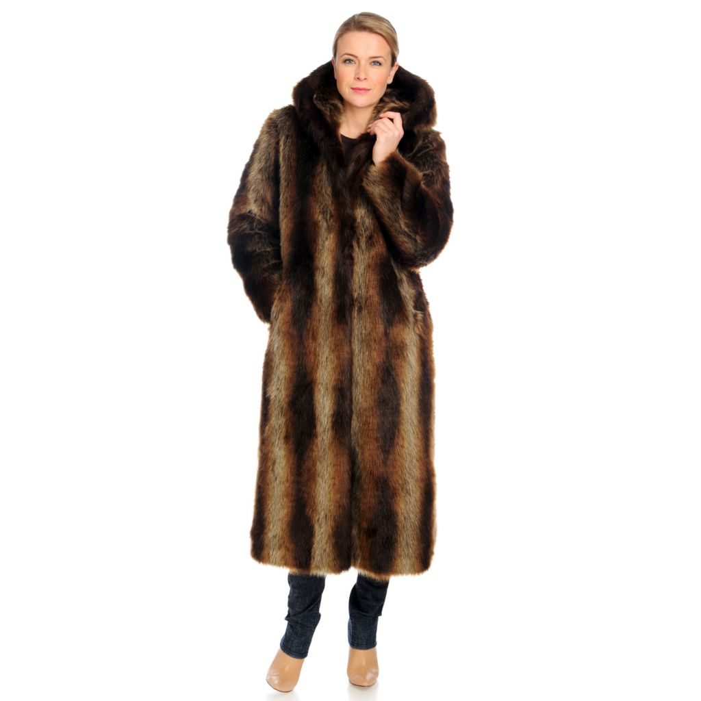 715-952 - Donna Salyers' Fabulous-Furs Faux Fur Full Length Hooded Coat