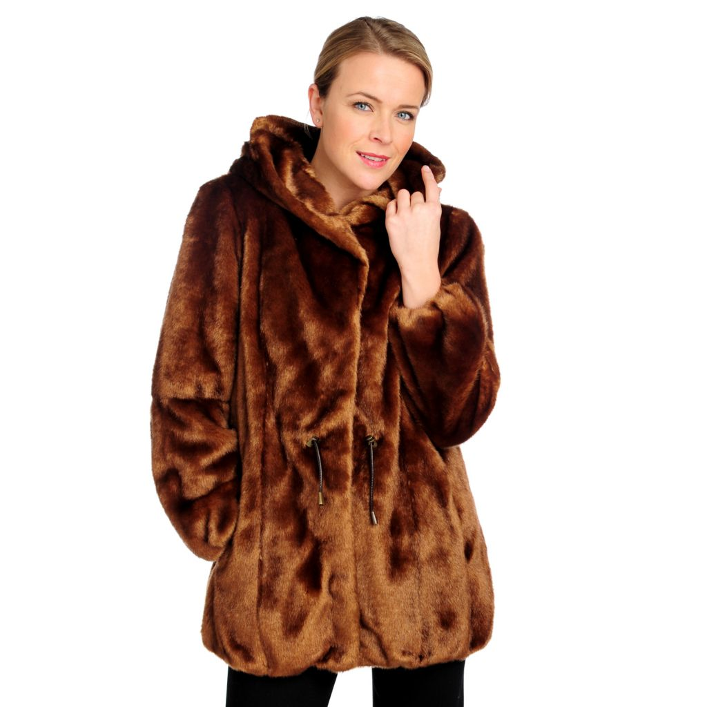 715-955 - Donna Salyers' Fabulous-Furs Faux Fur Hooded Luxe Anorak Jacket