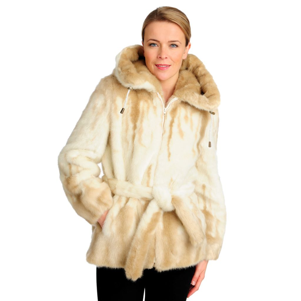 715-956 - Donna Salyers' Fabulous-Furs Stenciled Faux Fur Hooded Parka