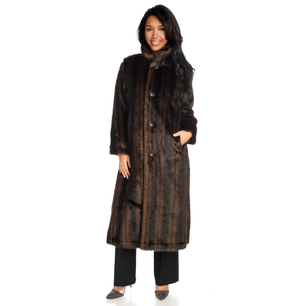 715-957 - Donna Salyers' Fabulous-Furs Faux Fur Reversible Long Storm Coat
