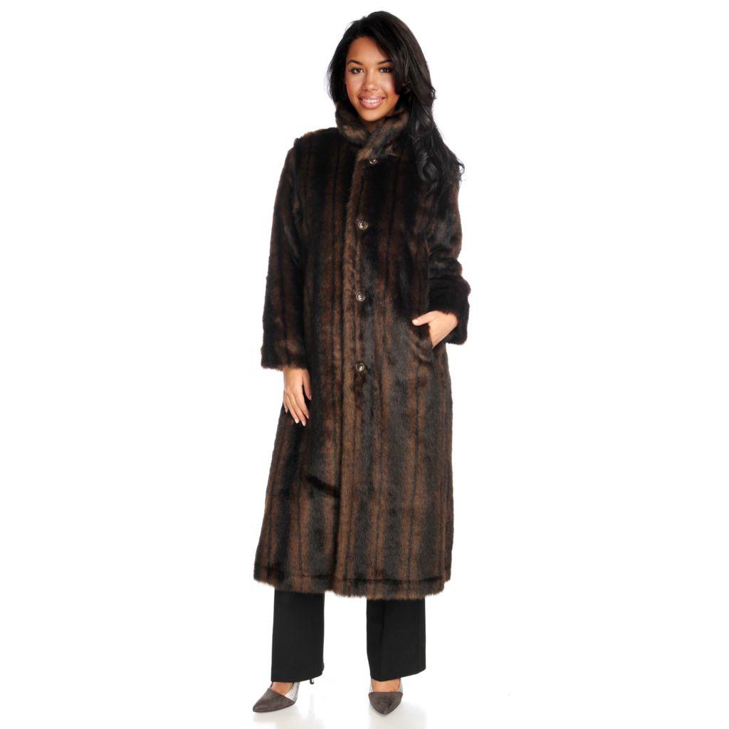715-957 - Donna Salyers' Fabulous-Furs Faux Fur Reversible Long Storm Coat