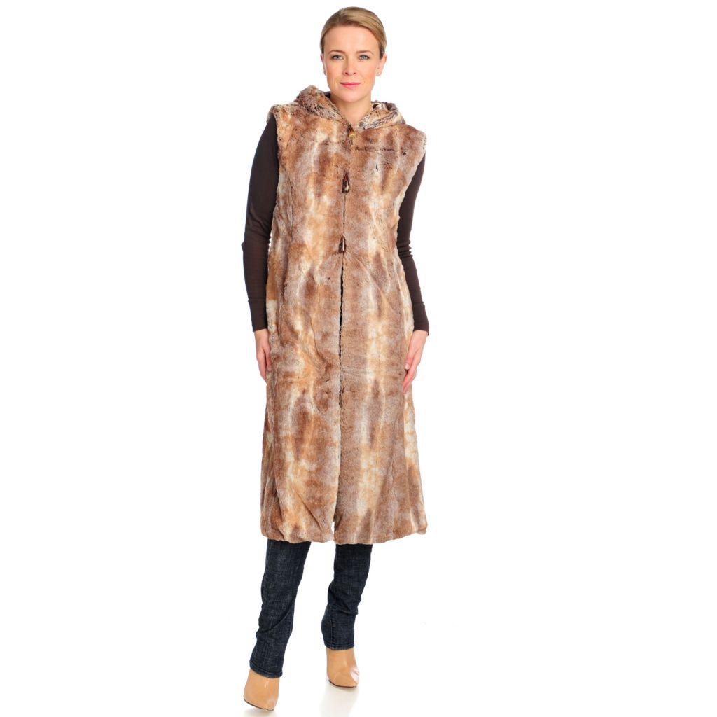 715-959 - Donna Salyers' Fabulous-Furs Faux Fur Rex Rabbit Long Hooded Vest