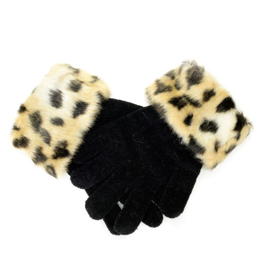 715-964 - Donna Salyers' Fabulous-Furs Chenille & Faux Fur Trimmed Gloves