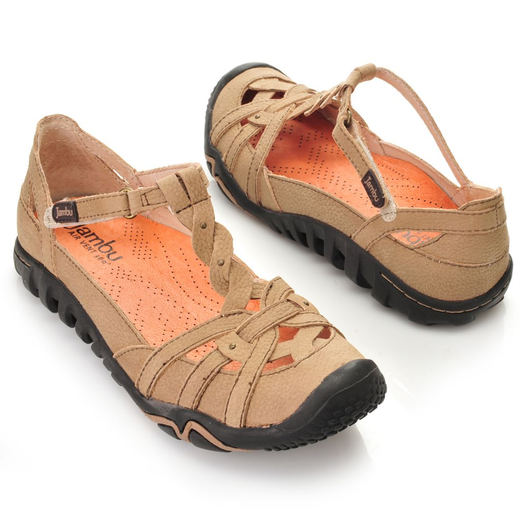715-969 - Jambu Leather Air Vent Design Twisted T-Strap Comfort Shoes